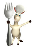 Donkey cartoon character with spoons and chef hat Royalty Free Stock Photo