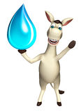 Donkey cartoon character with water drop Royalty Free Stock Image