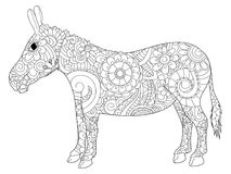 Donkey coloring raster for adults. Donkey coloring book for adults raster illustration. Anti-stress coloring for adult ass. Zentangle style jackass. Black and royalty free illustration