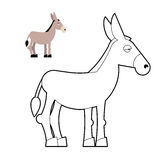 Donkey coloring book. Circuit animal. Childrens coloring book wi. Th mule vector illustration
