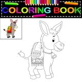 Donkey coloring book. Illustration of donkey coloring book royalty free illustration