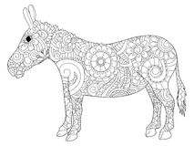 Donkey coloring vector for adults. Donkey coloring book for adults vector illustration. Anti-stress coloring for adult ass. Zentangle style jackass. Black and royalty free illustration