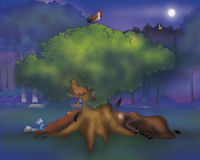 Donkey dog rooster and cat sleeping. A donkey, a dog, a rooster and a cat are sleeping under a tree. Digital illustration of the Grimms fairy tale: bremen town Royalty Free Stock Photos