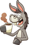 Donkey drinking coffee Stock Photos