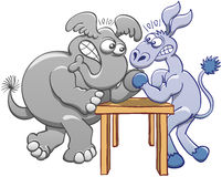 Donkey and elephant in an arm wrestling session. Aggressive donkey and elephant posing their elbows on a small table, staring at each other, clenching their Royalty Free Stock Photos