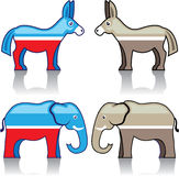 Donkey and Elephant Political Parties Stock Images