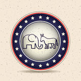 Donkey and elephant of vote inside button design Royalty Free Stock Image