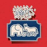 Donkey and elephant of vote inside frame design Royalty Free Stock Photography