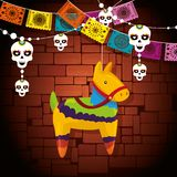 Donkey event decoration with skull party banner. Vector illustration royalty free illustration