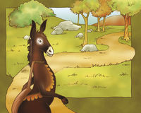 Donkey - fairy tale Stock Image
