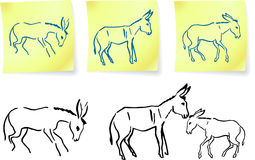 Donkey family  on post it notes Stock Photography