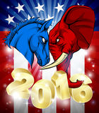 Donkey Fighting Elephant 2016 American Politics. A blue donkey and red elephant facing off. American politics 2016 election concept with animal mascots of the Stock Photography