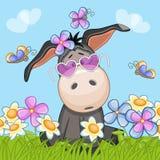 Donkey with flowers royalty free illustration