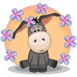 Donkey with flowers Stock Photos