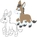 Donkey. Funny little neddy friendly smiling, color and black-and-white outline illustrations on a white background royalty free illustration