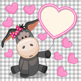 Donkey with heart frame Stock Photos