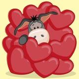 Donkey in hearts Royalty Free Stock Photo