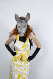 Donkey housewife in evening dress Royalty Free Stock Images