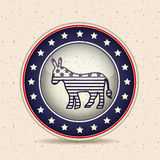 Donkey inside button of vote concept Stock Image
