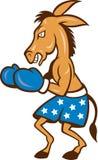 Donkey Jackass Boxing Stance. Cartoon illustration of a donkey jackass boxer with boxing gloves and stars shorts as democrat mascot Stock Photo