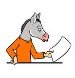 Donkey a man and a contract Stock Photos