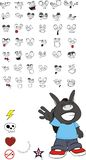 Donkey kid carton set vector. Donkey kid cartoon set in vector format vector illustration