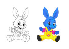 Donkey kid cartoon coloring page Stock Photography