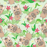 Donkey Flowers Grasses Seamless Pattern_eps Stock Photography