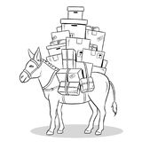 Donkey loaded parcels coloring vector illustration. Donkey loaded with box parcels coloring vector illustration. Comic book style imitation royalty free illustration