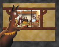 Donkey looking in a house vector illustration