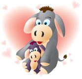 Donkey love. Cute donkeys, mama donkey and baby donkey,layered and grouped illustration for easy editing Royalty Free Stock Images