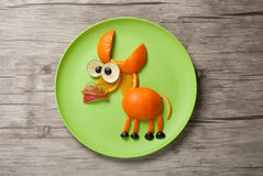 Donkey made of juicy fruits Royalty Free Stock Photos