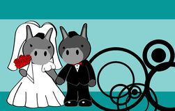 Donkey married cartoon background Royalty Free Stock Images