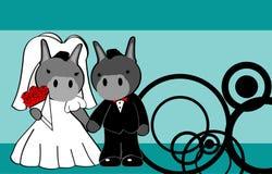 Donkey married cartoon background Royalty Free Stock Images
