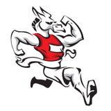 Donkey mascot winning a marathon Royalty Free Stock Image