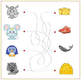 Donkey, mouse, penguin and wolf with their food (cheese, meat, f Royalty Free Stock Photos