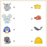 Donkey, mouse, penguin and wolf with their food (cheese, meat, f Royalty Free Stock Photo