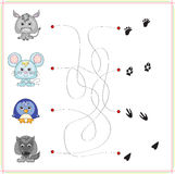 Donkey, mouse, penguin and wolf with their traces Royalty Free Stock Images
