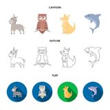 Donkey, owl, kangaroo, shark.Animal set collection icons in cartoon,outline,flat style vector symbol stock illustration.  Stock Photo