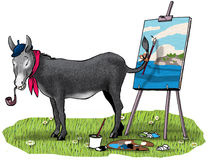 Donkey painter Stock Images