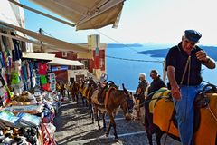 Donkey path tourist attraction Santorini island Greece Stock Photo