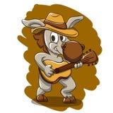 Donkey play the guitar stock illustration