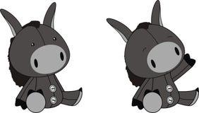 Donkey plush cartoon. In format vector illustration