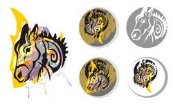 Donkey psychedelic splashes symbols Royalty Free Stock Photography