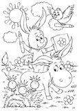Donkey, rabbit and bird. Black-and-white illustration (coloring page): donkey, rabbit and bird draw with pencils vector illustration