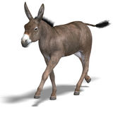 Donkey Render. Rendering of a mule with Clipping Path over white Stock Photos