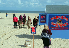 Donkey riding on Great Yarmouth beach. Stock Images