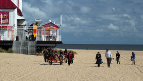 Donkey riding on Great Yarmouth beach. Stock Photography