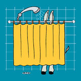 Donkey in a shower. Donkey take a shower behind a yellow shower curtain Stock Photos