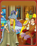 The donkey skin - Prince or princess - castles - knights and fairies - illustration for the children. The happy and colorful illustration for the children Royalty Free Stock Photos